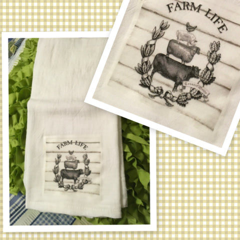 FARM LIFE Farm Animals Flour Sack Tea Towels Kitchen Decor Gift Idea Handmade Chef Gift Housewarming Gift Wedding Gift - JAMsCraftCloset