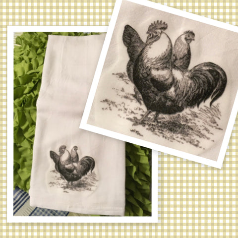 4 CHICKENS HENS Flour Sack Tea Towels Kitchen Decor Gift Idea Handmade Chef Gift Housewarming Gift Wedding Gift - JAMsCraftCloset