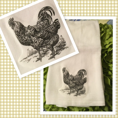 5 CHICKENS HENS Flour Sack Tea Towels Kitchen Decor Gift Idea Handmade Chef Gift Housewarming Gift Wedding Gift - JAMsCraftCloset