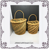 Basket Vintage Wall Hanging Natural and Green Woven SET OF 2 - JAMsCraftCloset