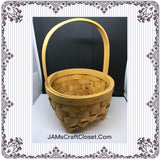 Basket ROUND Vintage Natural Woven Flower Girl or Easter Basket Gift - JAMsCraftCloset