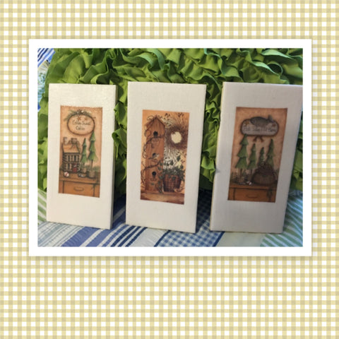 Ceramic Tile CABIN SWEET CABIN - FISH TALES TOLD HERE Wall Art Handmade Decoupaged Upcycled Repurposed Gift Home Decor SET OF 3 - JAMsCraftCloset