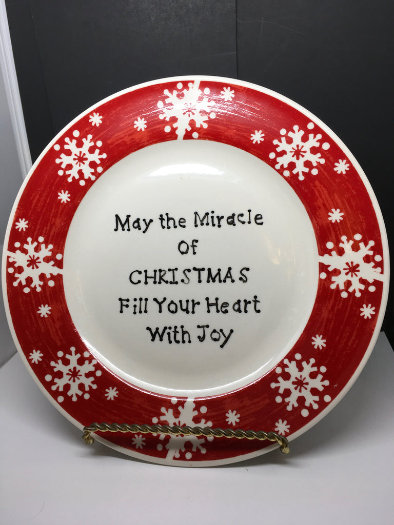 Plate Hand Painted Upcycled Positive Saying MIRACLE OF CHRISTMAS With Gold Wire Easel