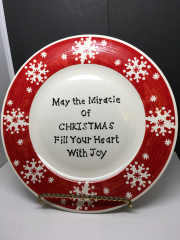 Plate Hand Painted Upcycled Positive Saying MIRACLE OF CHRISTMAS With Gold Wire Easel JAMsCraftCloset
