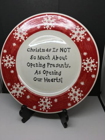 Plate Hand Painted Upcycled Positive Saying OPENING PRESENTS HEART Black Wooden Easel Holiday Decor