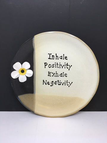 Plate Hand Painted Upcycled Repurposed Positive Saying INHALE POSITIVITY Wall Art Gift