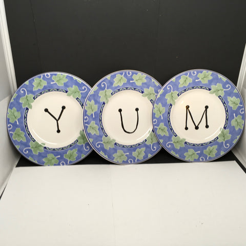 Plates Hand Painted YUM Plate Blue Green Leaves Kitchen Decor Set of 3 Wall Art Gift Idea
