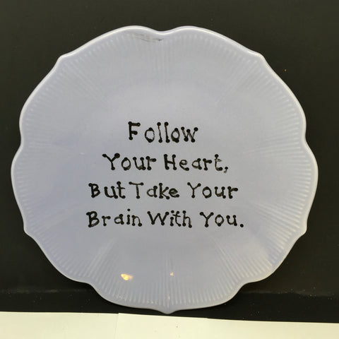 Plate Hand Painted Upcycled Repurposed Positive Saying FOLLOW YOUR HEART Plate Home Decor Wall Art Gift JAMsCraftCloset