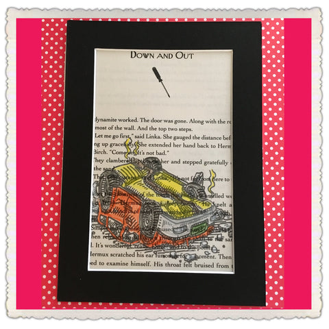 Book Pages Wall Art Colored Pencil Art DOWN AND OUT Black Mat 5 by 7 Inches Gift Home Decor - JAMsCraftCloset