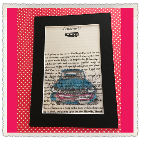 Book Pages Wall Art Colored Pencil Art GOOD BYES Black Mat 5 by 7 Inches Gift Home Decor - JAMsCraftCloset