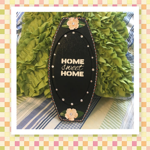 HOME SWEET HOME Up-Cycled Cottage Chic Hand Painted Unique Wall Art in Peach and White Kitchen Decor Office Decor Home Decor One of a Kind Gift - JAMsCraftCloset