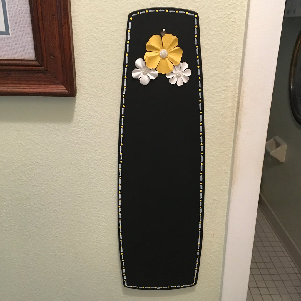 Chalkboard Yellow Upcycled Repurposed Ceiling Fan Blade Wall Art Home Decor Gift - JAMsCraftCloset