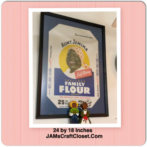 Aunt Jemima Self-Rising Family Flour Bag Framed Black Americana Vintage Kitchen Decor Gift Idea Collector Home Decor Kitchen and Dining - JAMsCraftCloset