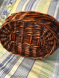 Basket Gathering Vintage Rust and Black Woven - JAMsCraftCloset