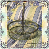 Basket Green Patina Wire Vintage Oval Gathering - JAMsCraftCloset