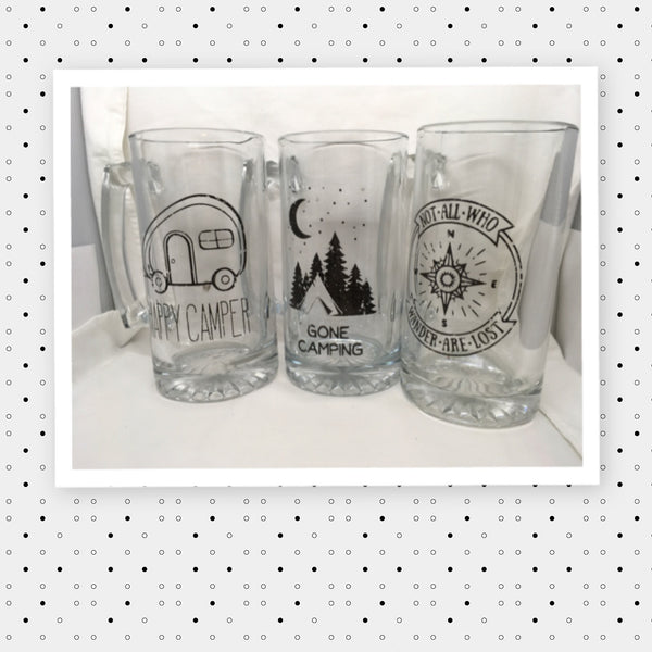 NOT ALL WHO WANDER ARE LOST Mug Hand Painted Clear Glass Large Barware Bar Decor Man Cave Decor Drinkware One of a Kind Home Decor Gift Camper RV - JAMsCraftCloset