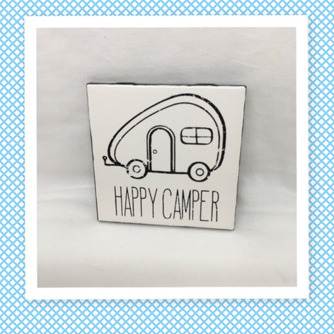 HAPPY CAMPER Wall Art Ceramic Tile Hand Painted  Sign HOME Decor Gift Idea Handmade Sign Camper RV Decor Home and Living Wall Hanging - JAMsCraftCloset