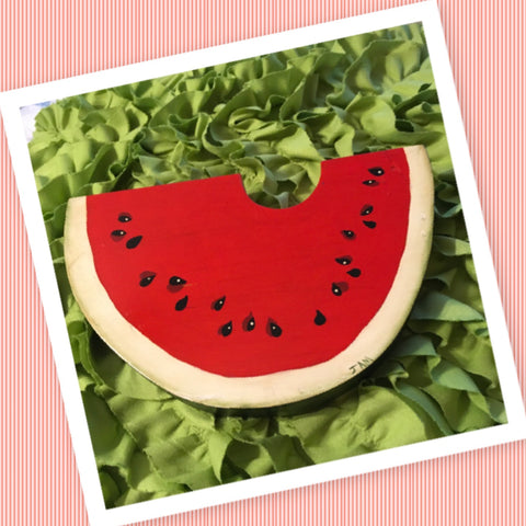 Watermelon Slice Wall Art Handmade Hand Painted Country Decor Primitive Decor Gift Idea Storage Country Kitchen Decor Patio Decor - JAMsCraftCloset