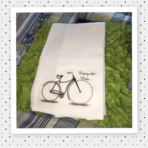 ENJOY THE RIDE Decorative Flour Sack Tea Dish Towel Kitchen Decor Positive Saying Gift Idea Handmade Chef Gift Housewarming Gift Wedding Gift - JAMsCraftCloset