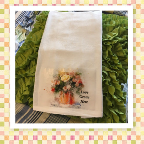 LOVE GROWS HERE Decorative Flour Sack Tea Dish Towel Kitchen Decor Positive Saying Gift Idea Handmade Chef Gift Housewarming Gift Wedding Gift - JAMsCraftCloset