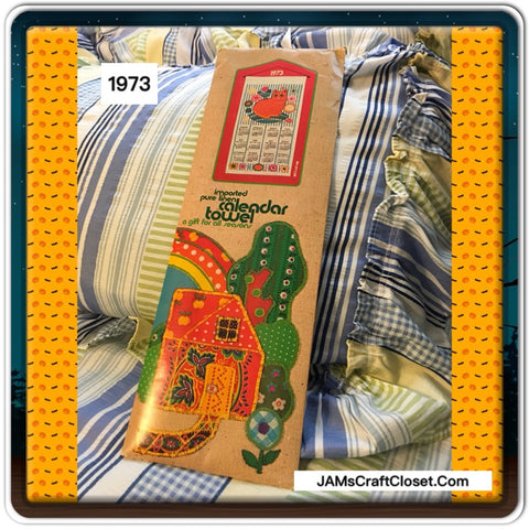 Calendar Towel Pure Linen Imported 1973 CAT and FLOWER Design - JAMsCraftCloset