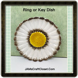 Ring Key Dish Floral Black White Yellow Made in Italy 4 Inches in Diameter