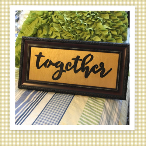 TOGETHER Vintage Decorative Wood Frame Positive Saying Wall Art Home Decor Gift Idea Wedding One of a Kind-Unique-Home-Country-Decor-Cottage Chic-Gift - JAMsCraftCloset