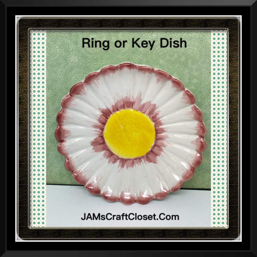 Ring Key Dish Floral White Red Yellow Made in Italy 4 Inches in Diameter