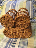 Basket Oval Vintage Natural Woven With 2 Bottle Holders and A Place for Cheese - JAMsCraftCloset