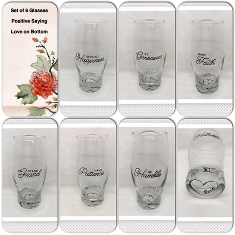 Drinking Glasses Vintage Clear Glass Positive Sayings Hand Painted SET of 6 Barware Drinkware Kitchen Decor Gift Idea LOVE on the Bottom of each Glass - JAMsCraftCloset