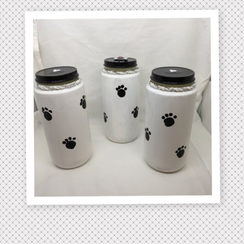 Bottles Jars PET TREATS White With Hand Painted Paw Prints Home Decor Gift Idea Heart on Lid - JAMsCraftCloset