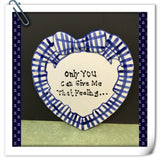 Plate Heart Blue Hand Painted Upcycled Repurposed Love Quote GIVE ME THAT FEELING Wall Art Gift