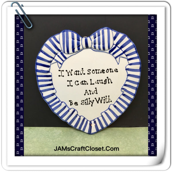 Plate Heart Blue Hand Painted Upcycled Repurposed Love Quote I WANT SOMEONE Home Decor Wall Art Gift JAMsCraftCloset