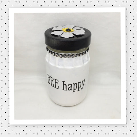 BEE HAPPY Bottle Jar Hand Painted White With Black White Bling and Flower Home Decor Storage Kitchen Home Decor Candy Jar Gift Idea - JAMsCraftCloset