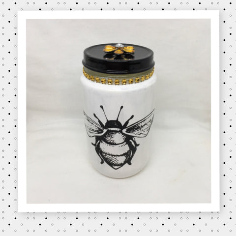 Bottles Jars HONEY BUMBLE BEE Hand Painted White With Yellow Bling and Flower Home Decor Gift Kitchen Home Decor Candy Jar Gift Idea - JAMsCraftCloset