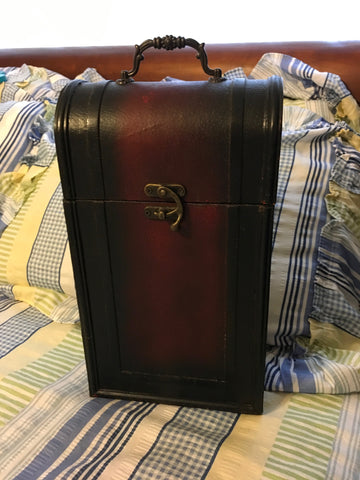 Wine Box Carrier With Handle Closing Catch Vintage Burgundy Showing Wear from Use