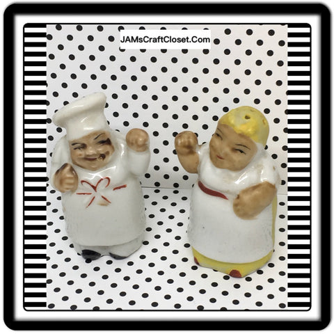 Black Americana Vintage TINY Aunt Jemima & Chef Salt Pepper Shakers Japan 1950s - JAMsCraftCloset