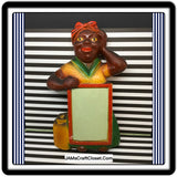 Black Americana Aunt Jemima Notepad Red Green Chalkware Holder Primitive Farmhouse or Country Decor - JAMsCraftCloset