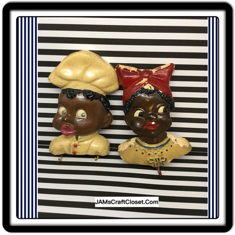 Black Americana Chalkware Kitchen Plaque w Hooks Chef Lady Girl Red Pot Holder Key Holder - JAMsCraftCloset