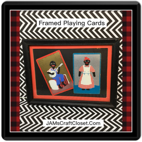 Black Americana Playing Cards Framed Mr Banjo Aunt Jemima Wall Art Collectible Memorabilia - JAMsCraftCloset
