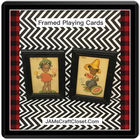 Black Americana Old Maid Cards Framed Set of Two Sambo Honey Pie Wall Art Collectible Memorabilia - JAMsCraftCloset