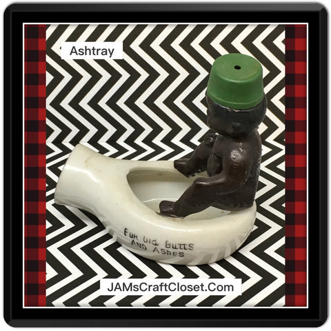 Japan Black Americana Ashtray Boy ON Potty Toliet Vintage Shelf Sitter Home Decor