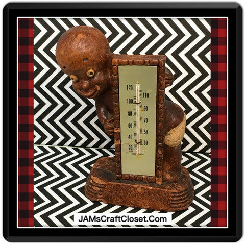 Black Americana Diaper Dan 1949 Figural Thermometer Shelf Sitter Home Decor - JAMsCraftCloset