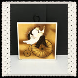 Fat Chef on Bicycle Ceramic Tile Wall Art or Magnet Square Kitchen Bar Decor