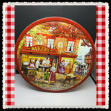 Tin Round BAKER SHOP Jacobsens Bakery Denmark c. 2010 Storage Kitchen Decor