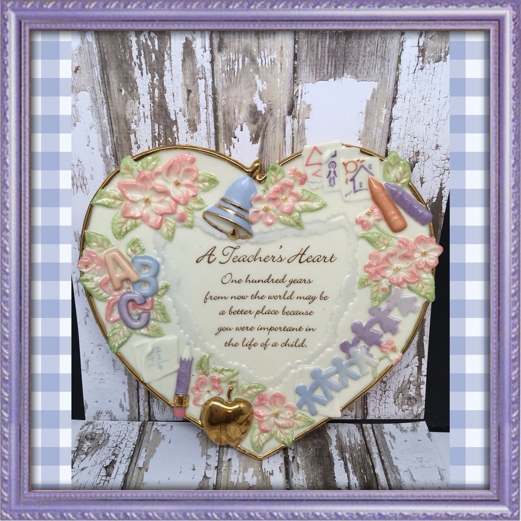Teacher Heart Plate with Beautiful Saying Bradford Exchange Number A9842 c. 2002 Gift