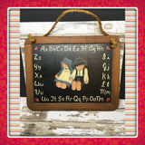 Chalkboard Country Primitive Folk Art Decorative Slate With Amish Girl Boy ABCs - JAMsCraftCloset