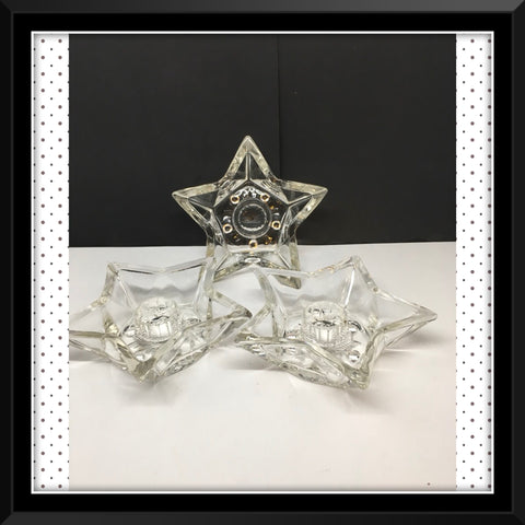 Candle Holder Pointed Star Candlestick Votive Vintage Clear Glass Romantic Lighting - JAMsCraftCloset