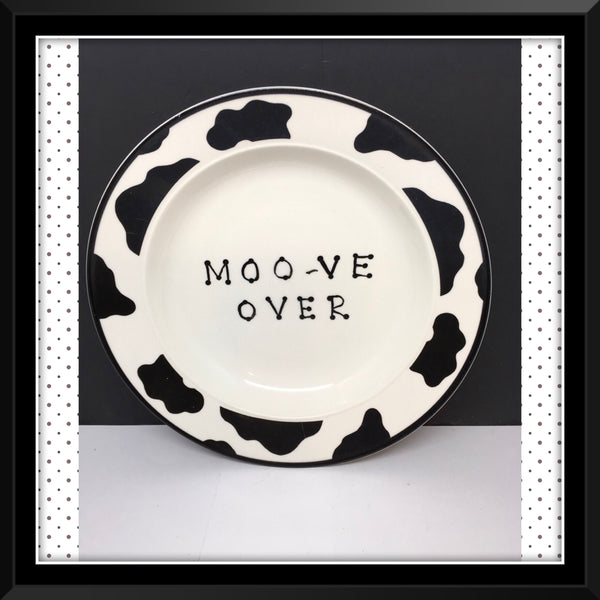 Plate Hand Painted Upcycled Repurposed Positive Saying MOO VE OVER Cow Collector Gift