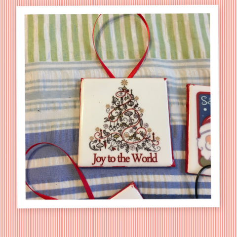 JOY TO THE WORLD Tree Ceramic Tile Ornament Christmas Gift Tree Decor Stocking Stuffer Christmas Holiday Home Decor Gift Idea Handmade Country Farmhouse Campers RV - JAMsCraftCloset